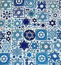 Jewish Judaica Fabric Tossed Stars on White