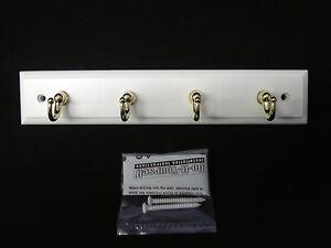 "BRAINERD 8 ¾"" White Key Rail & 4 Golden Hooks RPRK4AQ-PWB-D"