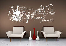 Wall Decal Music Speaks - Vinyl Wall Quote Sticker Art
