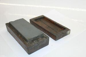 Antique Whetstone sharpening stone, wood case, wetstone, whet stone, oil stone