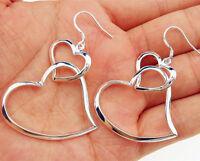 925 Sterling Silver Plated Lady Fashion Hoop Dangle Earring Stud Jewelry Eardrop