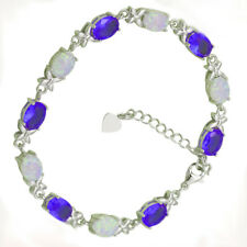 Fire Opal & Tanzanite 36.50ct Twisted Bracelet In 14k White Gold Plated Silver