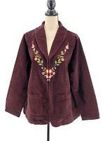 Denim 24/7 Womens Corduroy Jacket Brown Plus Size 20W 1X Floral Embroidery Heart
