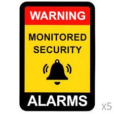 Alarm Warning Sticker, Home Security Vinyl Decal, Burglar House Security Sign x5