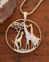 Giraffe Pendant and Necklace, Zambia1 1/2 Coin Hand Cut,1 1/2 in Dia., ( # 894 )