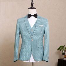 Men's Sky Blue Striped Slim Fit Suit Groom Tuxedos Formal Wedding Suit Custom