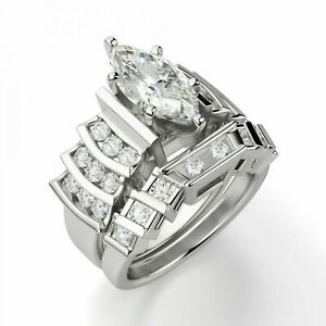 2.00 CT Marquise Cut CZ Solitaire Engagement Bridal Ring Set 925 Sterling Silver