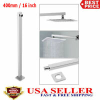 16inch Shower Extension Arm Square Chrome Wall Mounted For Rain Shower Head 40cm