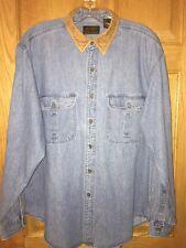 Eddie Bauer Denim Shirt Men's Large Vtg 90's Original Faux Suede Collar Cotton
