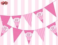Perfect Pink Happy 25th Birthday Vintage Polka Dots Stripes Theme Bunting Banner