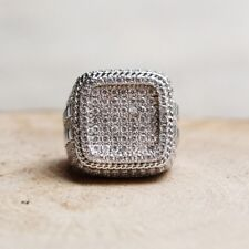 Mens White Gold Finish Sim.Diamond 3D Iced Out Hip-Hop Pave Pinky Wedding Ring