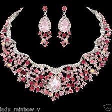 Luxury Drop Earrings Necklace Set Rose Pink Full Austrian Crystal Silver Tone