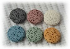 Six 20mm Oblate Lava Stones for aromatherapy essential oil necklace - 6 colors!