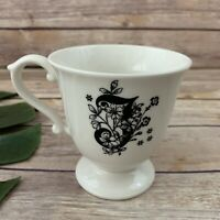 Anthropologie Monogram Initial J Tea Cup Mug White Black Retro Dainty Floral