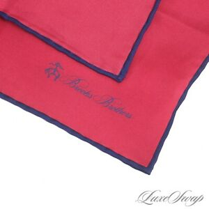 NWT Brooks Brothers 100% Silk Strawberry Red Blue Piped Solid Pocket Square NR