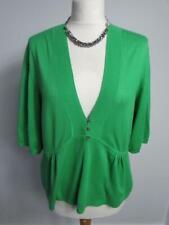 NEXT Ladies Green Fine Knit Pure Cotton Short Sleeve V Neck Cardigan Size 16 VGC