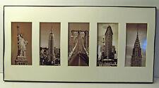 "SEPIA TONE PHOTO MONTAGE OF NEW YORK CITY - 5 LANDMARKS - 10"" X 20"""