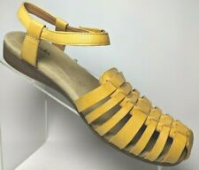 Clarks Huarache Sandals Yellow Leather Ankle Strap hook Loop Wedge Women 7.5 M