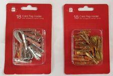 Pack Of 18 Silver Gold Metallic Christmas Card Holder Pegs & 3m Metallic String