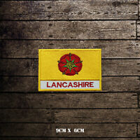 LANCASHIRE Flag With Name Embroidered Iron On Sew On Patch Badge For Clothes Etc