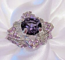 Size 9 Womens fashion Ring purple amethyst CZ silver cocktail holiday gift