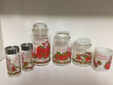New ListingVintage 80's Strawberry Shortcake Glass Canisters, mug, salt/pepper Lot