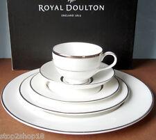 Royal Doulton PLATINUM SILK 5 Piece Place Setting Bone China Dinnerware Set NEW