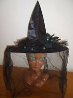 LADIES DELUXE BLACK WITCH HAT WITH VEIL & FEATHERS HALLOWEEN FANCY DRESS COSTUME
