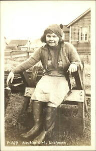 Eskimo Young Girl Aleutian - Unalaska AK c1940 Real Photo Postcard