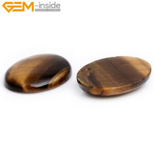 Natural Yellow Tiger's Eye Cabochon Gemstone Beads For Jewelry Craft Making 5Pcs