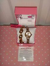 Betsey Johnson Women Gold Chain Leopard Cheetah Wrap Strap Watch BJ00302-03 +BOX