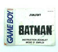 Notice jeu Nintendo Game Boy Batman Instruction Booklet Manuel PAL FAH
