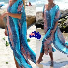 Women's Summer Boho Long Kaftan Maxi Dress Evening Cocktail Party Beach Dress ON