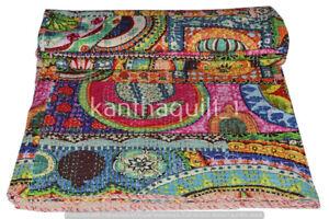 Kantha Blanket Bedspread Indian Handmade Quilt Throw Cotton Ralli Gudari Quilts