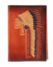 Ariat Western Men Wallet Leather Trifold Painted Chief Indian Skull Tan A3534308