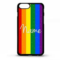 Rainbow flag gay pride LGBT personalised name gift graphic phone case cover