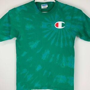 Champion Tie Dye Small T Shirt Big Logo Green Crew Neck Cotton Graphic Tee