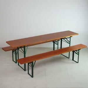 VINTAGE INDUSTRIAL GERMAN BEER TABLE BENCH SET GARDEN FURNITURE ORIGINAL VARNISH