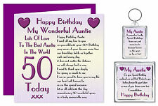 50th Auntie Happy Birthday Gift Set - Card, Keyring & Magnet - Lots Love Present