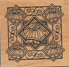 Papermania Christmas bells rubber stamp on wood wooden block