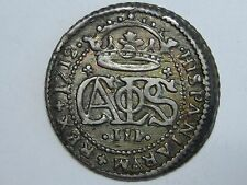1712 CHARLES III 2 REAL BARCELONA MINT SPANISH COLONIAL SPAIN SILVER COIN
