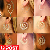 9 Styles Gold/Silv Boho Infinity Spiral Gypsy Tribal Ethnic Hoop Dangle Earrings