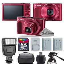 Canon PowerShot SX620 HS RED Digital Camera + Extra Battery + Flash - 16GB Kit
