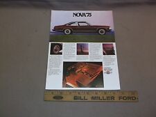 1975 CHEVY CHEVROLET NOVA SS CUSTOM LN FACTORY SHOWROOM SALES BROCHURE NICE NR