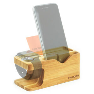 Apple Watch and iPhone Stand Bamboo Spigen®[S370] Charging Dock Station Mount