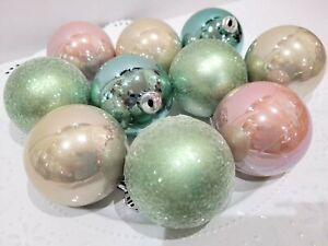 "Coastal Nautical Beach Aqua Gold Pink Glitter Christmas Tree Ornaments 2.5"" S/10"