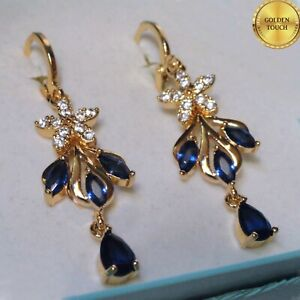 18k GF Blue Sapphire Drop Dangle Earrings Made With Swarovski Crystals, Boxed