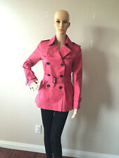New Coach 86050 Womens Trench Coat Lined Cotton Jacket Carnelian Red Size xxs