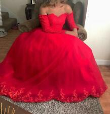 Long Sleeves Women Evening Party Tulle Dresses Wedding Off Shoulder Lace Gown 16