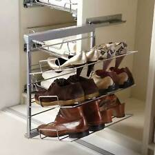 Pull Out Shoe Rack 3 Tier Soft Close Chrome and Silver
